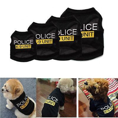 Pet Cat Dog Puppy Vest Police T-Shirt Coat Pet Clothes Summer Apparel Costumes - Police Dog Costumes
