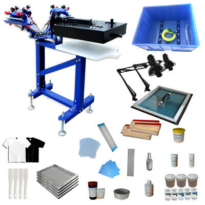 4 Color 1 Station Screen Printing Kit Press Materials Exposure Flash Dryer