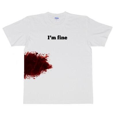 I'm fine Funny Men T-Shirt Casual Tee Tops Halloween Novelty (I Funny Halloween)