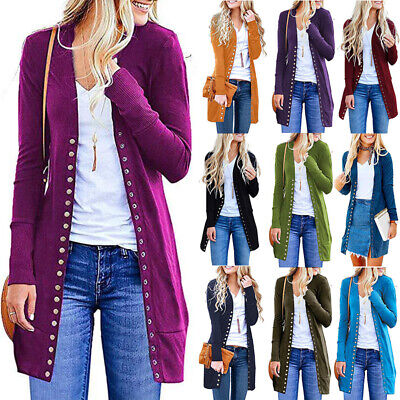 Womens Solid Open Front Cardigan Button Down Shirt Long Sleeve Loose Knit Blouse