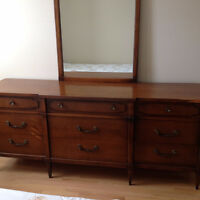 Long bedroom dresser with mirror. Antique,  Maple - BEST OFFER