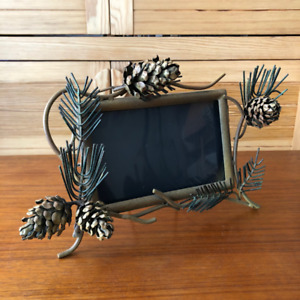 Woodland Country Pine Cones & Branches Metal Picture Frame