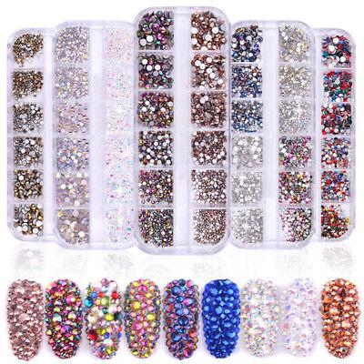 1440Pcs Flat Back 3D Nail Art Rhinestones AB Crystal Strass Gems Manicure Tips
