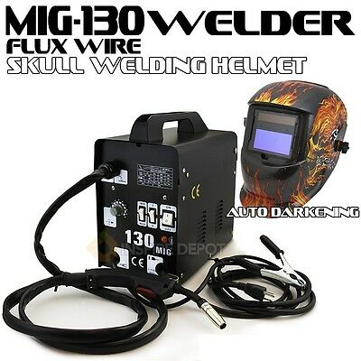 Mig-130 Flux Wire Welder Machine No Gas Flame Auto Darkening Welding Helmet Ce