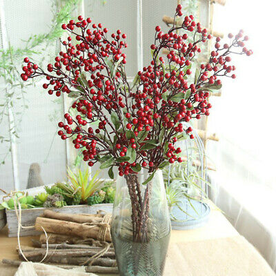 Red Berry Holly Leaves Branch Artificial Flower Decor Home Flower Bouquet Decors ()