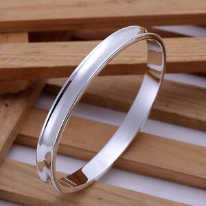 Stunning 925 Sterling Silver 7MM High Polished Bracelet Bangle Curved Oblong