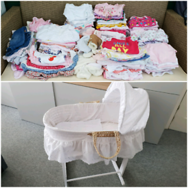 Baby girl clothes bundle 0-3 m and Moses basket