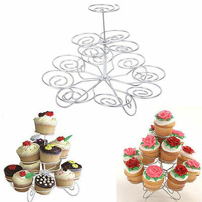 3 Tier Metal Cupcake Stand Holder Tower Wedding Party Dessert Carrier Display - Cupcake Display Stand