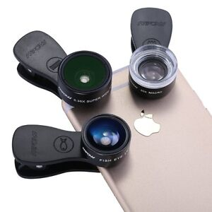 3 In 1 Clip-On Lens Kit & a Mini Night Using Selfie Flash Light