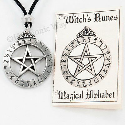 WITCHES RUNES RUNE Pendant NECKLACE Pentagram witch's alphabet Pentacle Jewelry