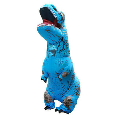 Adult Jurassic World Walking Blue T-Rex Inflatable Dinosaur Costume Holiday Suit