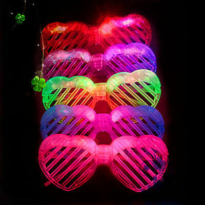 12 Pcs LED Glasses Shutter Heart shape Light Up Shades Flashing Rave - Light Up Shutter Shades