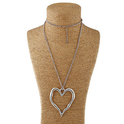Abstract Heart Necklace - Large abstract metal heart pendant and long curb chain necklace silver lagenlook