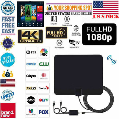 US Indoor HDTV Amplified HD TV Digital Antenna 200 Mile 1080P 4K 16FT Coax Black