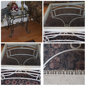 Set of three: square & 2 glass end tables