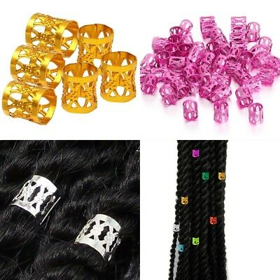 50pcs Hair Braid Ring Beads Dreadlocks Cuff For Hair Extension Jewelry Decor