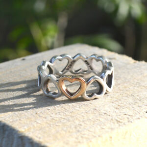 Sterling Silver (with one gold heart) Tiffany's Ring