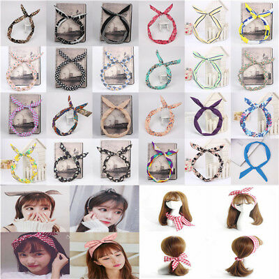 Woman Cute Bow Bunny Ear Ribbon Hairband Wire Headband Wrap Gift 96 color - Ears Headband