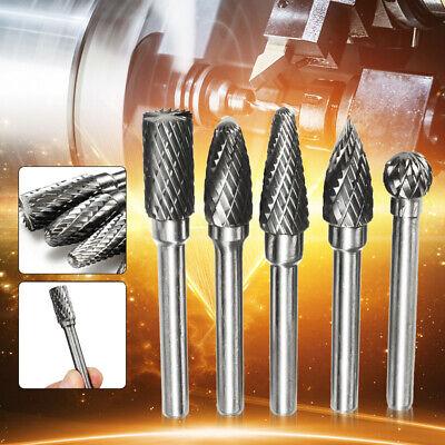 "5Pcs Tungsten Carbide Burr 1/4"" Shank Rotary Cutter Files Set CNC Engraving USA"