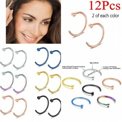 12x Nose Ring Open Hoop Lip Body Piercing Studs Stainless Steel Jewelry 6 Colors (Hoop Nose Ring)
