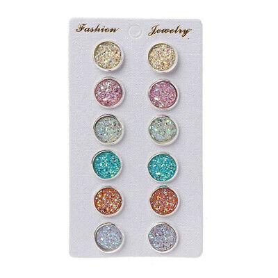 New 6 Pairs Ear Stud Earrings Set for Girls Women Hypoallergenic Round Jewelry Girls Earrings Set