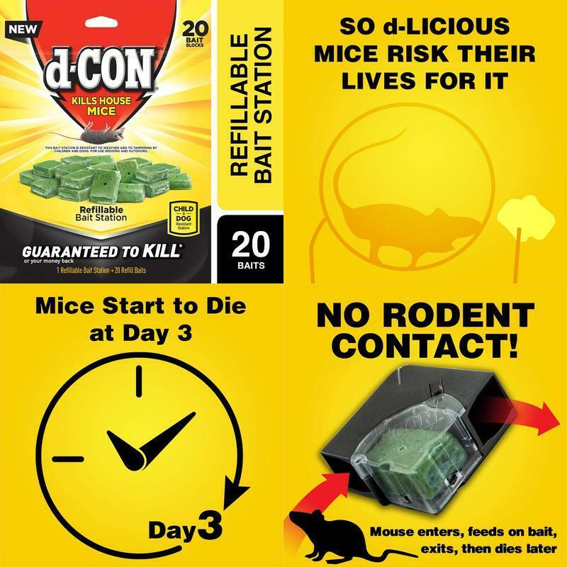 D-Con Corner Fit Mouse Poison Bait Station with 1 Trap and 2
