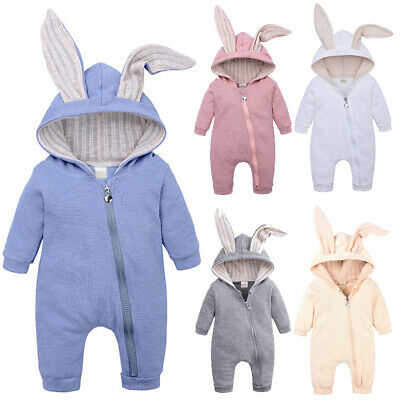 Infant Baby Boy Girl Clothes Rabbit Bunny Ears Romper Jumpsuit Overall Outfits