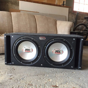 """2 MTX Thunder 9500 (T9512A) 12"""" Subs in Ported Sledgehammer Box"""