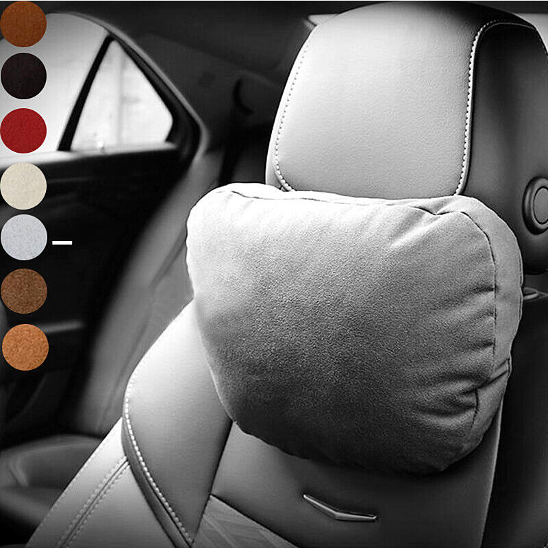 Soft Gray Car Headrest Neck Suede Pillow Seat Cushion Protect For Benz W204 W203