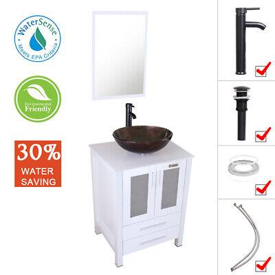 "24"" Bathroom Vanity Single W/Glass Vessel Sink Set Faucet Mi"