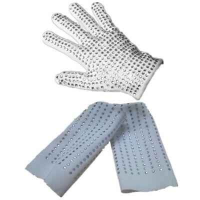 NEW Unisex Michael Jackson Dance Crystal Billie Jean Sequins Socks Sequin Glove