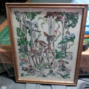 LOOK ! ANTIQUE PETIT POINT BAMBI and MOTHER FRAMED WALL HANGING