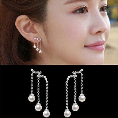 2X Frauen Mode Elegante Versilbert Perle Tropfen Baumeln Ohrstecker Ohrringe UE Perle Ohrringe Baumeln