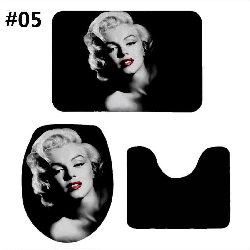 . Details about S 3 Marilyn Monroe Print Non Slip Bathroom Set Floor Mat Rugs  Lid Toilet Cover