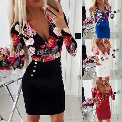 Women Sexy V-Neck Bodycon Dresses Ladies Floral Long Sleeve Mini Dresses -