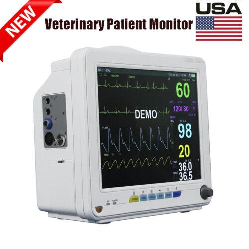 "12"" Vet Veterinary ICU Patient Monitor Vital Signs NIBP SPO2 ECG TEMP RESP PR CE"