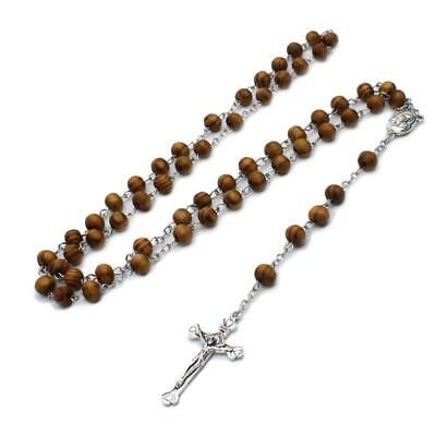 2pc Tan /& Black Colored Wooden Beads Rosary Necklaces with Jesus Imprint Cross