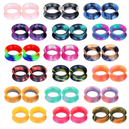 2PCS Colorful Thin Silicone Ear Gauges Soft Ear Plugs Ear Sk
