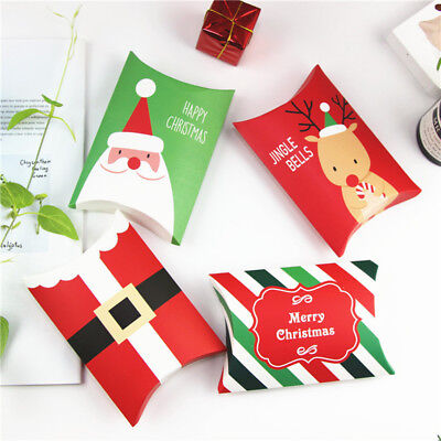 Christmas Gift Cookies - Christmas Paper Pillow Boxes Candy Sweets Cookies Biscuits Party Favour Gift Bag