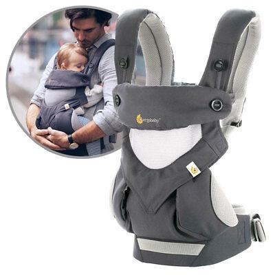 Ergobaby Babytrage Rückentrage 360° Cool Air Mesh für 4 Positionen - Carbon Grey