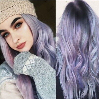 Women Wigs Purple Ombre Long Straight Hair Blue Mixed Color Gradient Curly - Kids Blue Wig