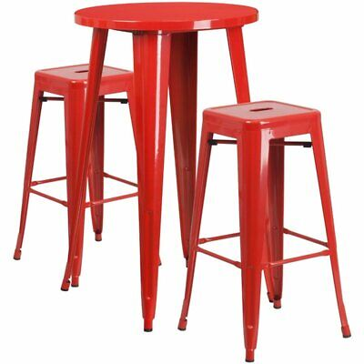 Flash Furniture Round Patio Bistro Set in Red ()