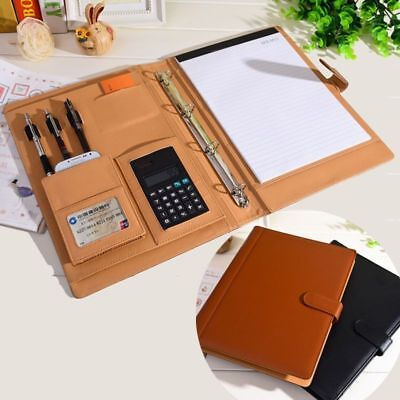 Leather Folder Portfolio Multi Function Ring Notebook Binder Organizer Planner
