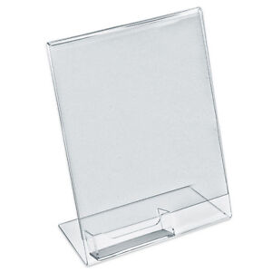Vertical sign brochure literature holder with business for Flyer holder with business card