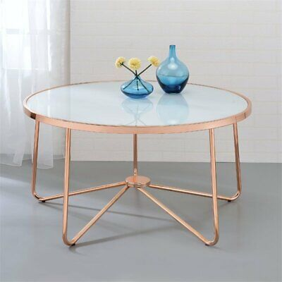 ACME Alivia Coffee Table in Frosted Glass and Rose Gold