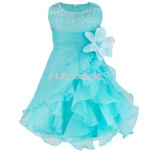 Flower girls princess bow dress toddler baby wedding party for Wedding dresses for baby girl