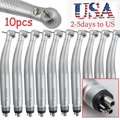 10pcs High Speed Led Dental Handpiece Standard Push Button 4 Hole