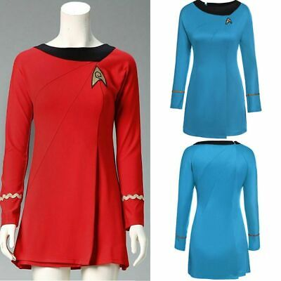 Frauen Damen Blau / Rot Kostüm Star Trek Female Duty Uniform Cosplay Halloween