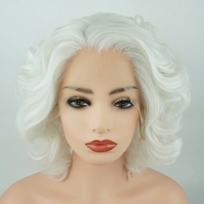Meiyite Hair Wavy Short 10inch White Heavy Density Synthetic Lace Front Wig - White Short Wig
