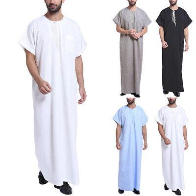 Men's Muslim Islamic Clothing Saudi Jubba Thobe Arabic Abaya Arab Kaftan Robe US